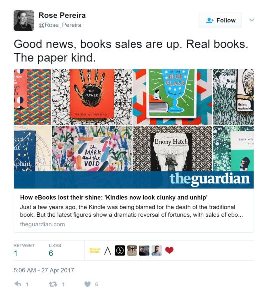 "Tweet by @Rose_Pereira: ""Good news, book sales are up. Real books. The paper kind."""