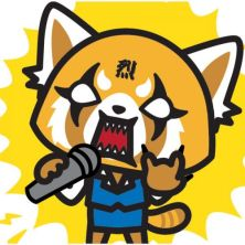 aggretsuko with karaoke mike