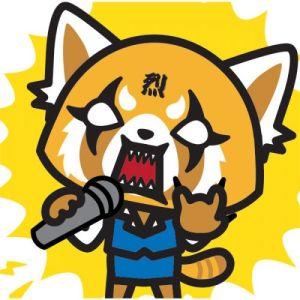 aggretsuko with karaoke mike