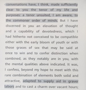 Quote from Middlemarch—Casaubon talks about his work and Dorothea's suitable mind
