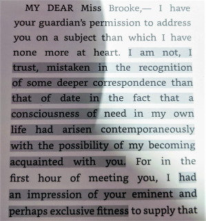 Quote from Middlemarch—Casaubon's first paragraph of proposal letter