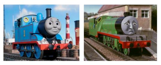 Thomas the Tank Engine smiling, Henry looking sad